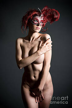 Erotic Nude With Venetian Mask by Jochen Schoenfeld