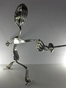 Escrimeur En Action by Dalu sculpteur Anticonformiste