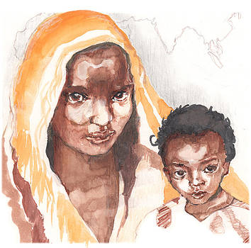 Ethiopean mother and child by Nancy Watson