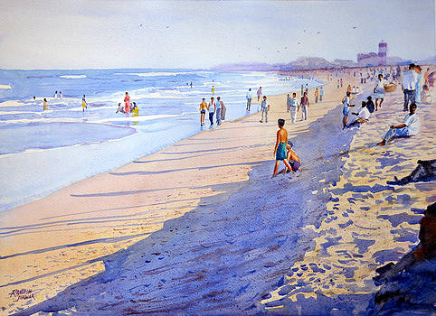 Evening at Marina Beach by Ramesh Jhawar