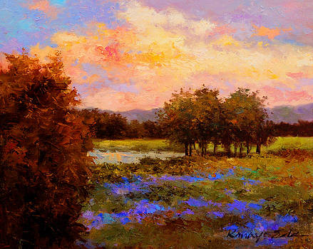 Evening Blue - Landscape painting by Kanayo Ede