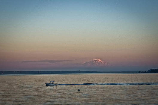 Ronda Broatch - Evening Boating in the Reflection of Mount Rainier