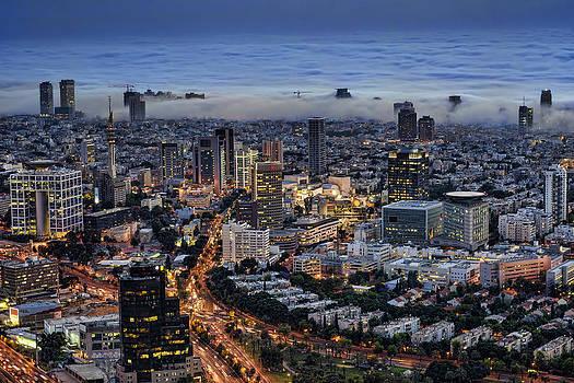 Evening City Lights by Ron Shoshani