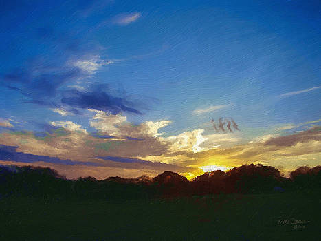 Evening clouds at the ranch  1146 by Fritz Ozuna