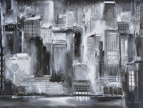 Evening in Chicago - Black and White Painting by Kathleen Patrick