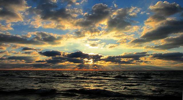 Morning  rays over Lake Michigan  by Denise   Hoff