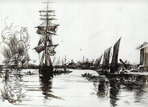 Excitement in Harbor influenced by Boudin by Victoria Stavish