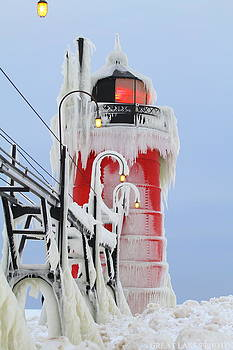 Extreme ice of South Haven Michigan Lighthouse Beauty by Jack  Martin
