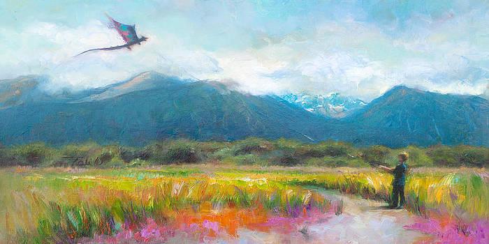 Face Off - Boy facing his dragon kite by Talya Johnson