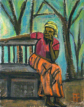 Allen Forrest - Fair Trade Coffee Woman on Bench