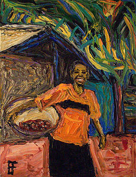 Allen Forrest - Fair Trade Coffee Woman with Basket of Coffee Beans