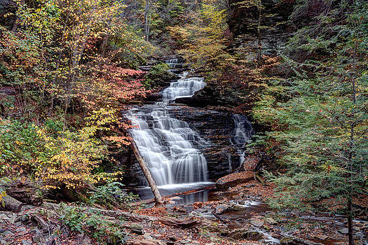 Gene Walls - Fall Colors From Below Mohican Falls
