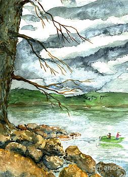 Ellen Miffitt - Fall Fishing in a Green Boat