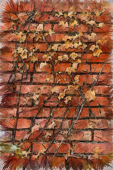 Fall Leaves On Red Brick Wall by Michael Flood