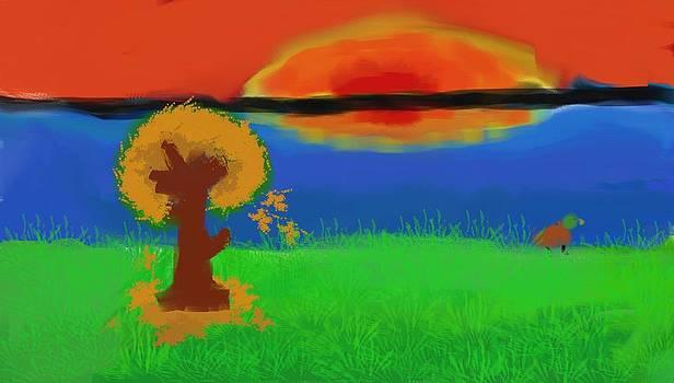Fall Sunset Digital Painting by Saibal Ghosh