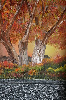Fall Trees And Stone Wall by Donna Jeanne  Carver