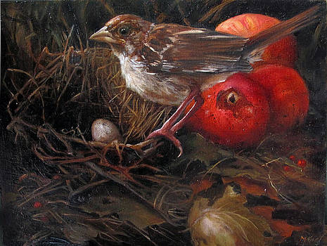 Fallen Nest and Sparrow by Margot King