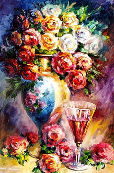 Fallen Roses - PALETTE KNIFE Oil Painting On Canvas By Leonid Afremov by Leonid Afremov