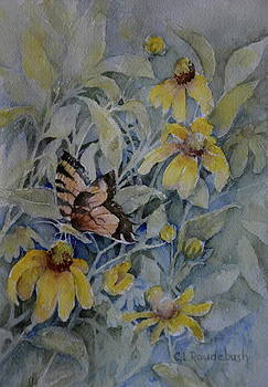 False Sunflower and Butterfly by Cynthia Roudebush