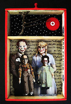 FAMILY mixed media collage original art by Linda Apple