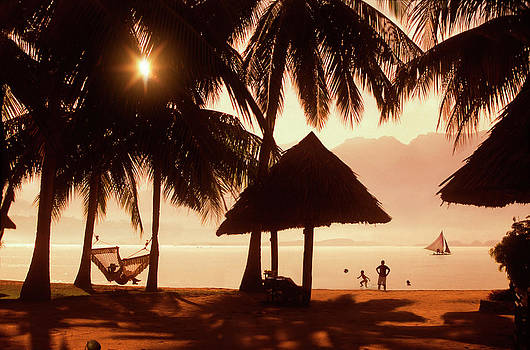 Family On Beach With Palm Trees by Per-Andre Hoffmann