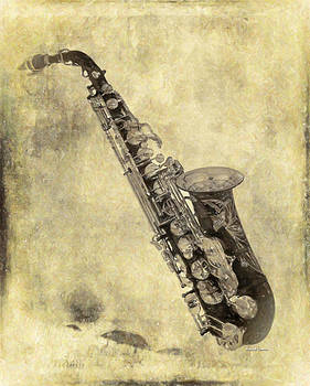 Fancy Antique Saxophone in Pastel by Angela A Stanton