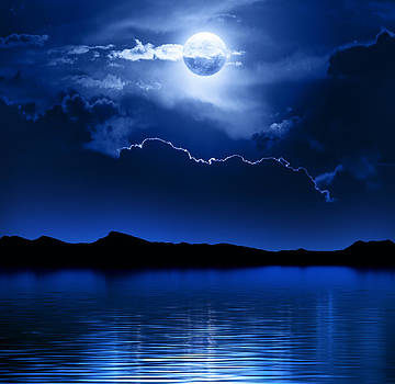 Fantasy Moon and Clouds over water by Johan Swanepoel