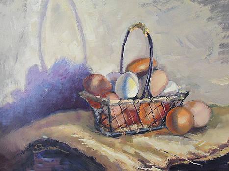 Farm Eggs in a Basket  by Brandy Cattoor