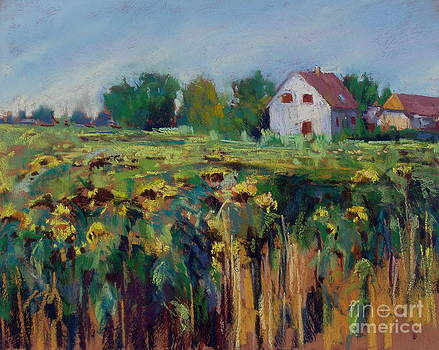 Farm House in the Field of Sunflowers by Virginia Dauth