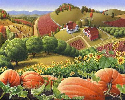 Farm Landscape - Autumn Rural Country Pumpkins Folk Art - Appalachian Americana - Fall Pumpkin Patch by Walt Curlee