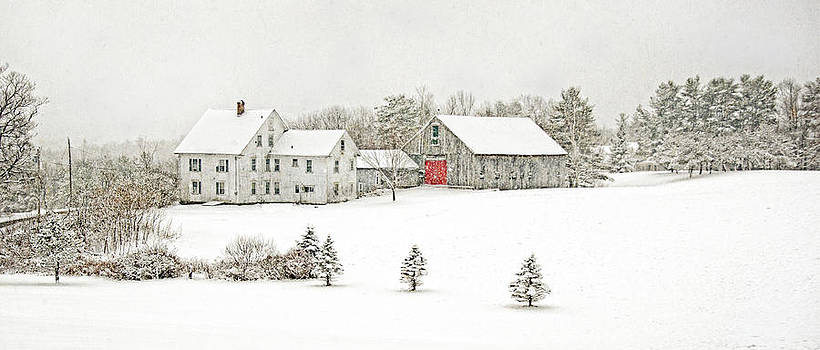 Farmhouse on a Snowy Day by Donna Doherty