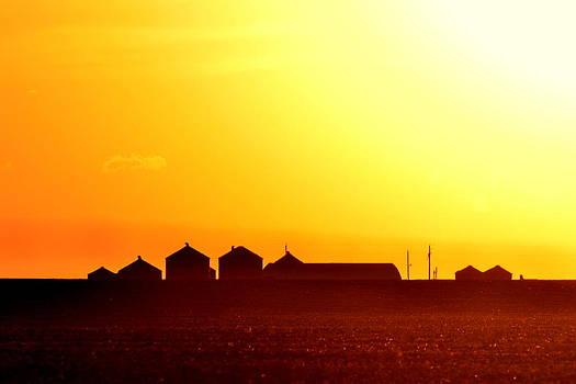 Farmstead At Sundown by Clarice  Lakota