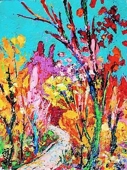 Fauve aqua red and amber trees by Siang Hua Wang