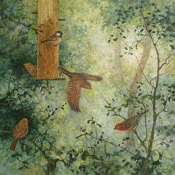 Feeder and Finches by Floy Zittin