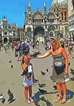 John Malone - Feeding Birds at St. Marks Square in Venice
