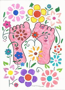 Artists With Autism Inc - Feet behind the flowers