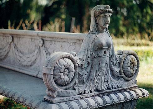 Female Bust on Stone Bench by Maggie  Cabral