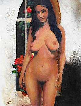 G Linsenmayer - FEMALE NUDE STANDING WITH RED BEGONIA