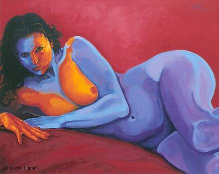 FEMME SUR ROUGE SATIN   Copyright Rengell and Lignan by Luccia Lignan