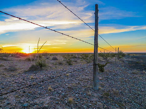 Fenced In Sunset by Brian Preuss