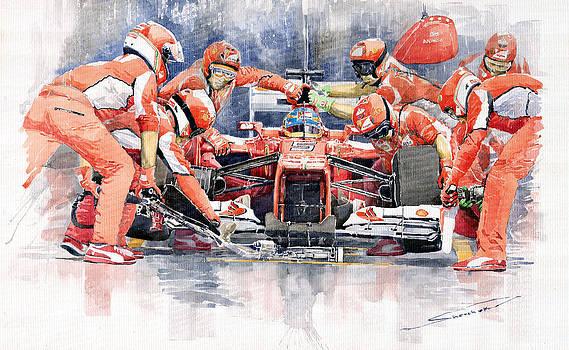 2012 Ferrari F 2012 Fernando Alonso Pit Stop by Yuriy  Shevchuk