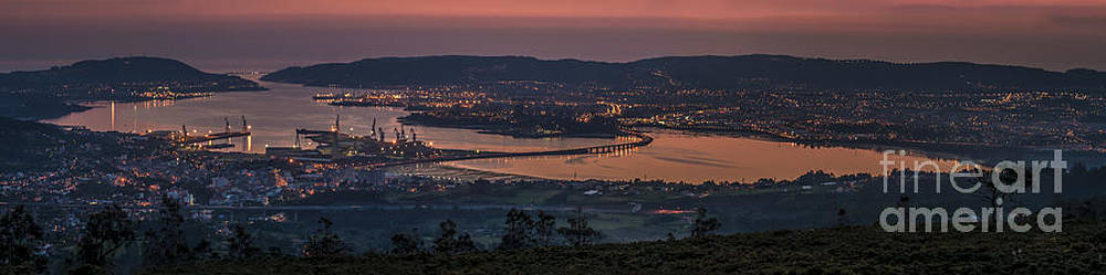 Ferrol Estuary Panoramic View From Coto do Rei Galicia Spain by Pablo Avanzini