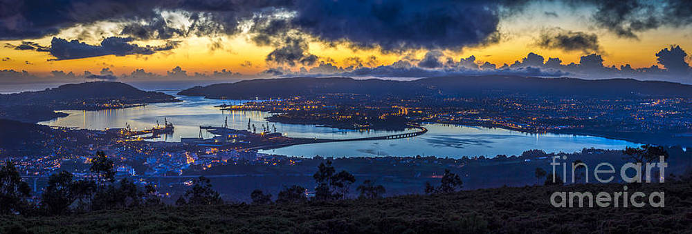 Ferrol Estuary Panoramic View from Mount Marraxon Galicia Spain by Pablo Avanzini