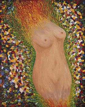 Fertility Goddess Nude Original Acrylic Palette Knife by Georgeta Blanaru