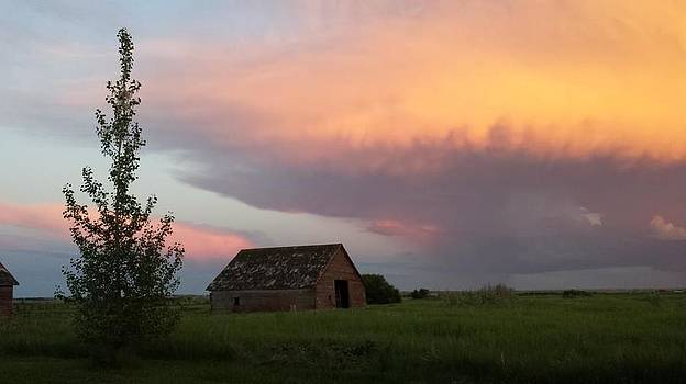 Fiery Sky and Old Barn by Anne Peters