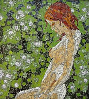 Figure in Front of Green Spots by Rachel Van der pol