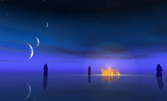 Figures approach fire in the night on other world by Bruce Rolff
