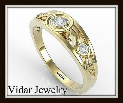 Filigree Diamond 14k Yellow Gold Women Wedding ring  by Roi Avidar