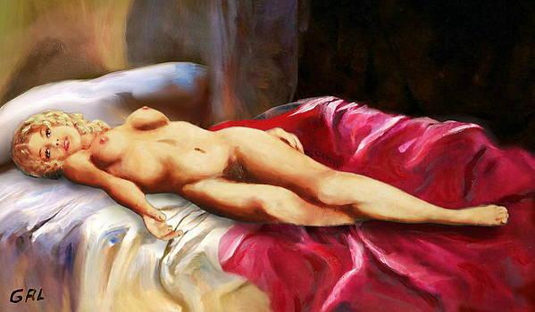 G Linsenmayer - FINE ART NUDE BRIGIT RECLINING RED BEDSPREAD