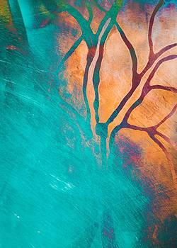 Priya Ghose - Fire And Ice Abstract Tree Art Teal